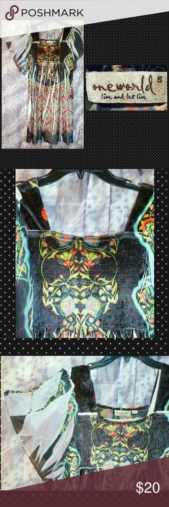 I just added this listing on Poshmark: Blk/Multicolor Velvet & Chiffon Knit Dress Sz Sml. #shopmycloset #poshmark #fashion #shopping #style #forsale #ONE WORLD #Dresses & Skirts