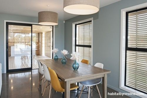 The dining area, with walls in Resene Half Inside Back, opens to a sheltered deck.  http://www.habitatbyresene.co.nz/michelle-and-andrew-show-some-vision