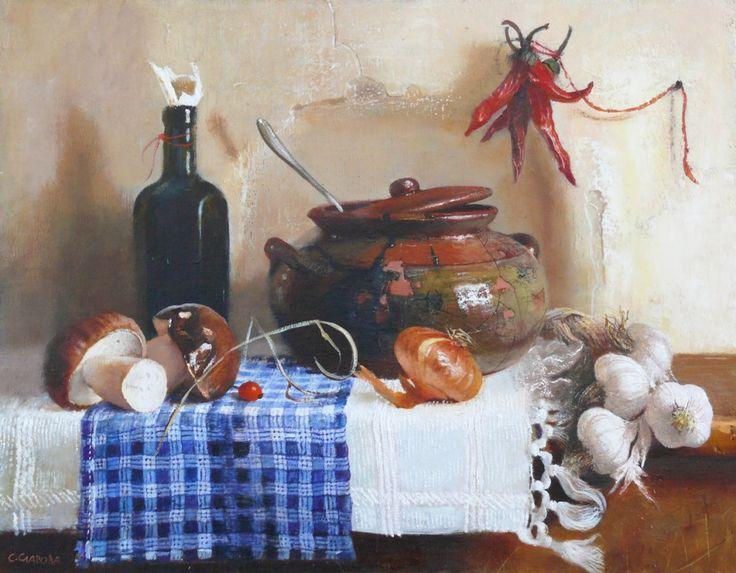 Snejana Slavova. Still life with pot and mushrooms