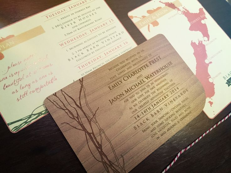 Rustic wood wedding invitation set with map. Coral, peach and green colour scheme. Go to www.lovemytype.com.au