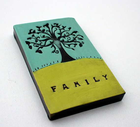 Ceramic tile featuring a tree and the word family printed in. Duckegg, lime and black. Stunning Individually Hand Crafted Glazed terracotta