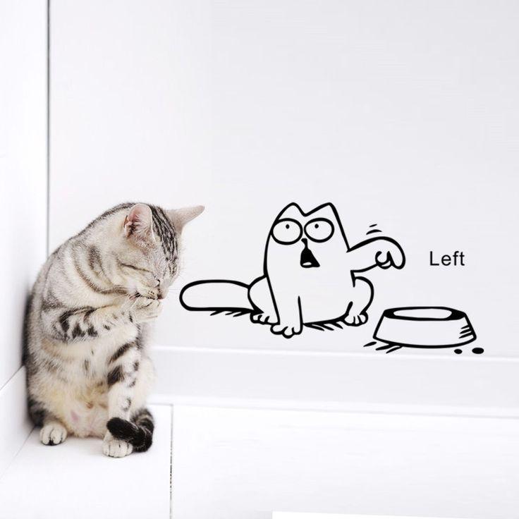 Купить товарЗабавный кот автомобиля винила ноутбук окна танк стикер стены чаши кошка пропуск наклейки на обои в категории Наклейки на стенуна AliExpress.                    Смешной мультфильм кошка винил автомобиля окно бак стикер миску кош�%B