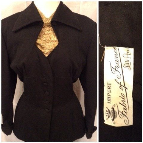 VINTAGE 1940s Suit Lilli Ann San Francisco Black by RelicVintageSF
