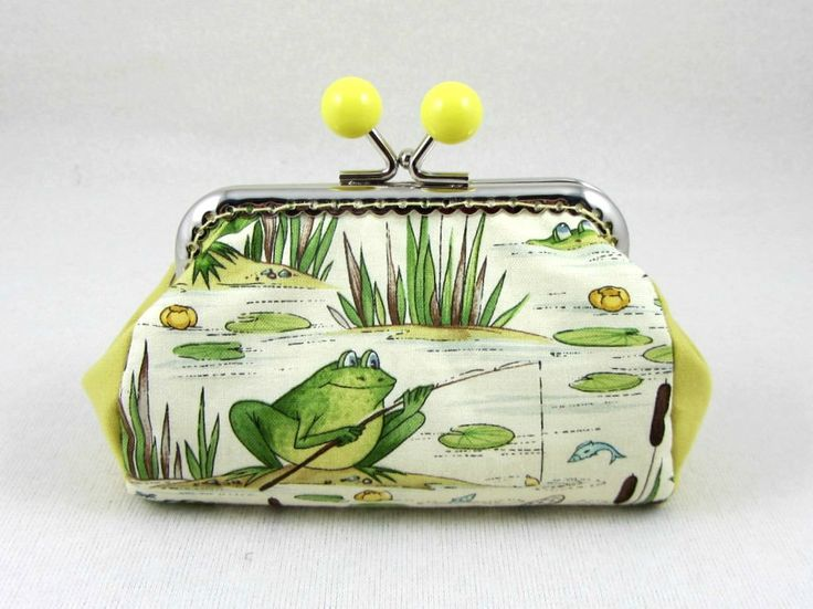 Frog coin purse, clasp pouch, frog gone fishing, handmade purse,  clutch purse, change purse, yellow kiss lock purse by JRsbags on Etsy
