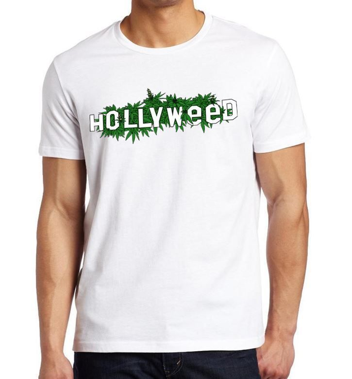 HOLLYWEED Hollywood LA Sign Mens Unisex Womens Tshirt Green Weed Drugs New White #HallOfThreads