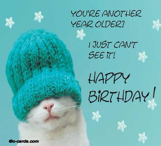 You're another year older!  I just can't see it! Happy Birthday cat in hat