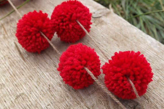 Handmade Nordic Christmas pom pom garland perfect for trees walls and fireplaces on Etsy, $37.29 AUD