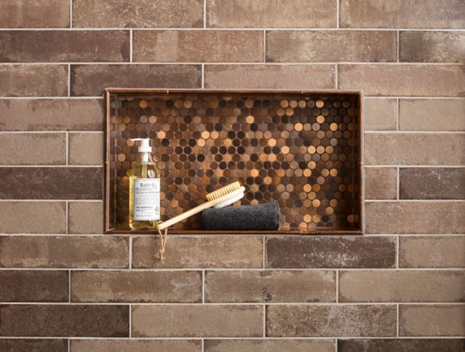 Brick Subway Wall Tile In Shower With Copper Penny Round In Recessed Shelf In 2020 Tile Installation Patterns Tile Layout Patterns Wall And Floor Tiles