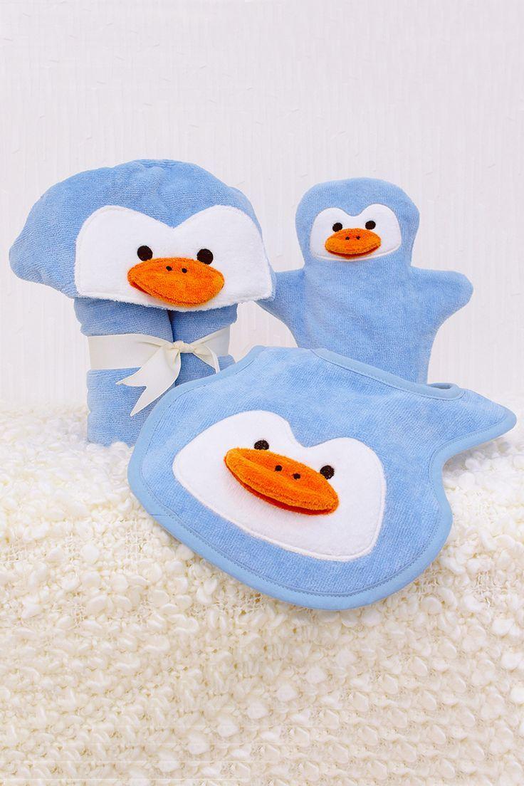 Baby Hooded Bath towel Orange PENGUIN