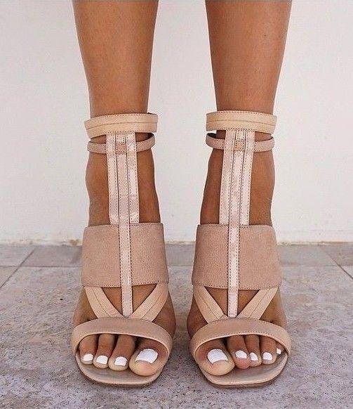 nude geometric heels