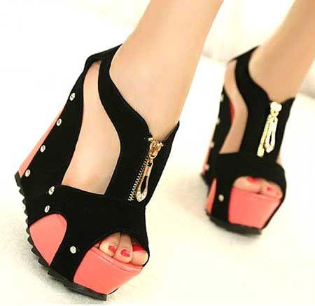 Fermuar detaylı süet ayakkabılar