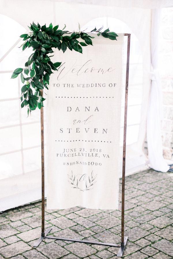 Linen Banner Wedding Welcome Sign Cotton wedding Sign Fabric Sign Cotton Wedding Banner