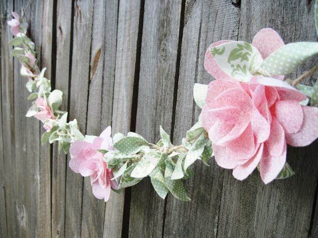 Two Shades of Pink: Fabric Vine and flowers -hang on front of crib or on wall with artwork and family photos