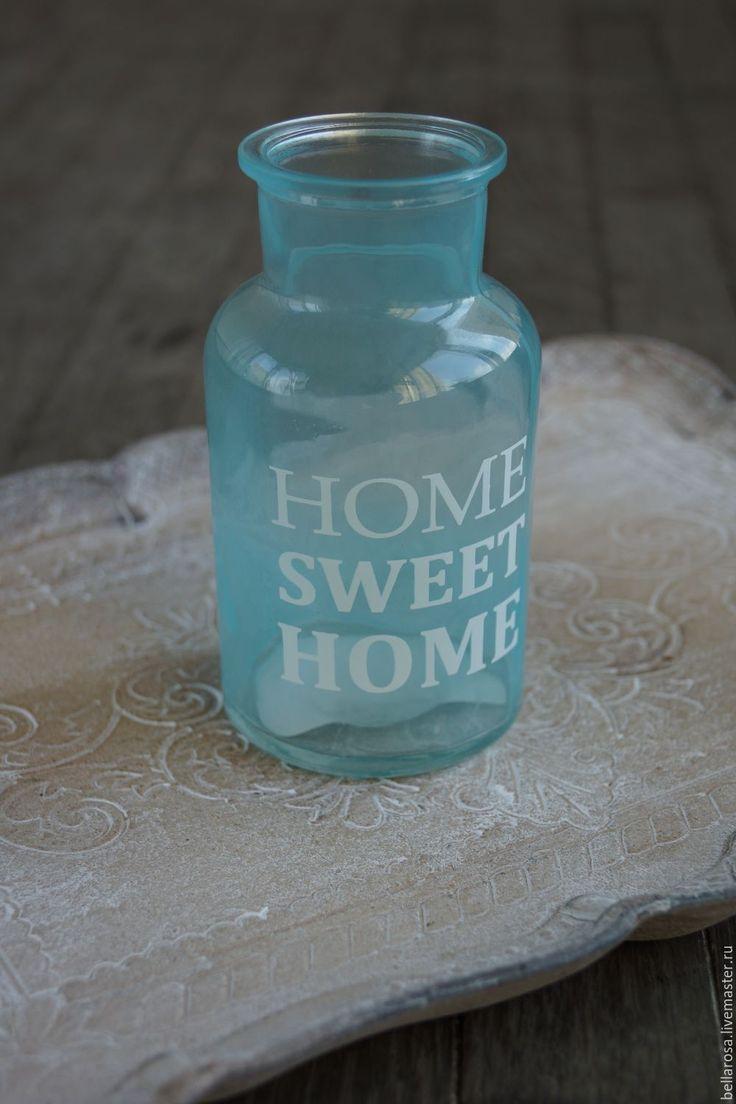Купить Бутыль декоративная - мятный, ваза, ваза для цветов, ваза декоративная, бутылка, бутылка декоративная