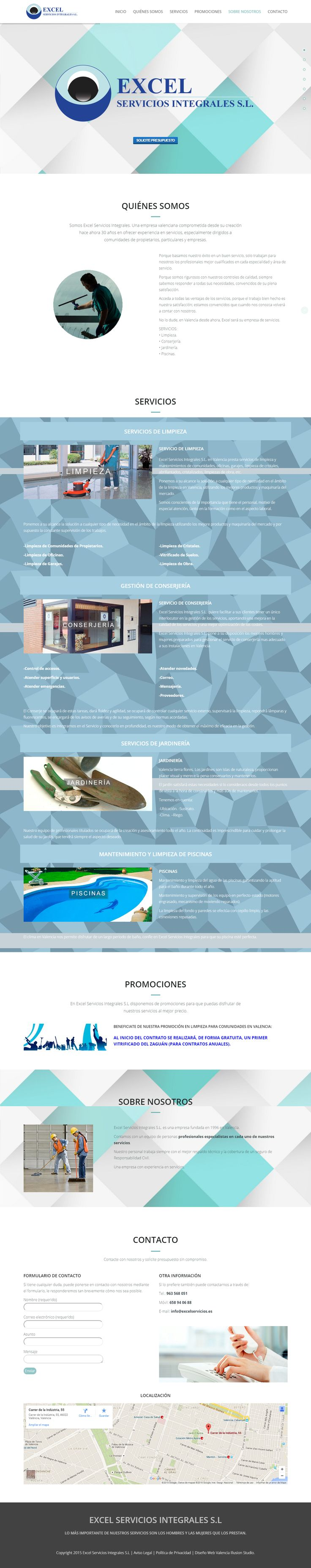 Proyecto de diseño web para la empresa de limpieza y servicios integrales Excel. Se trata de una landing page estructurada en varias secciones: quiénes somos, servicios, promociones, sobre nosotros, contacto y localización.