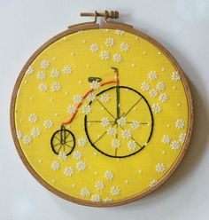 Vintage Bicycle Hoop art, Floral Fabric, Hand embroidered, Bike, Biker, Cycling Art, Wall art, Cycle