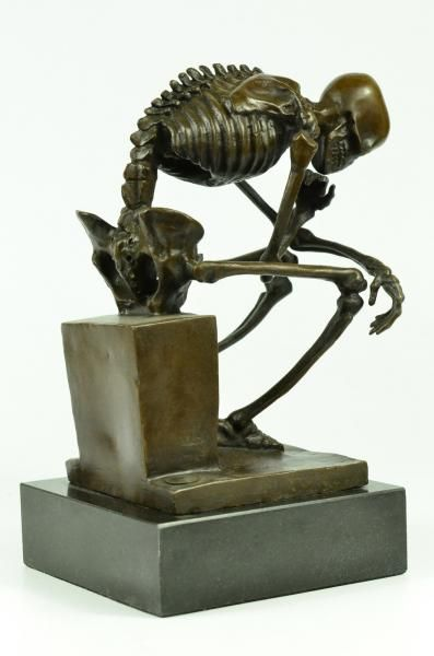 Fake Artdeco Statue Skeleton Thinking Man. Probably made in China