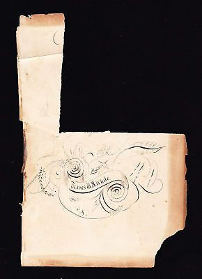 PRIMITIVE FOLK ART PENCIL SKETCH 'JAMES WHITE' 1800s