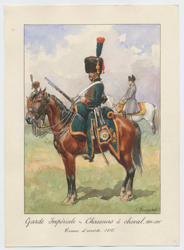 Garde Impériale - Chasseurs à cheval 1804-1815; Tenue d'escorte, 1812 1945 Rousselot, Lucien (artist) 31st in collection of 92 original watercolors signed by Rousselot; profile view of mounted chasseur in dark green uniform and bearskin hat, facing left; smaller figures of Napoleon and another chasseur in background.