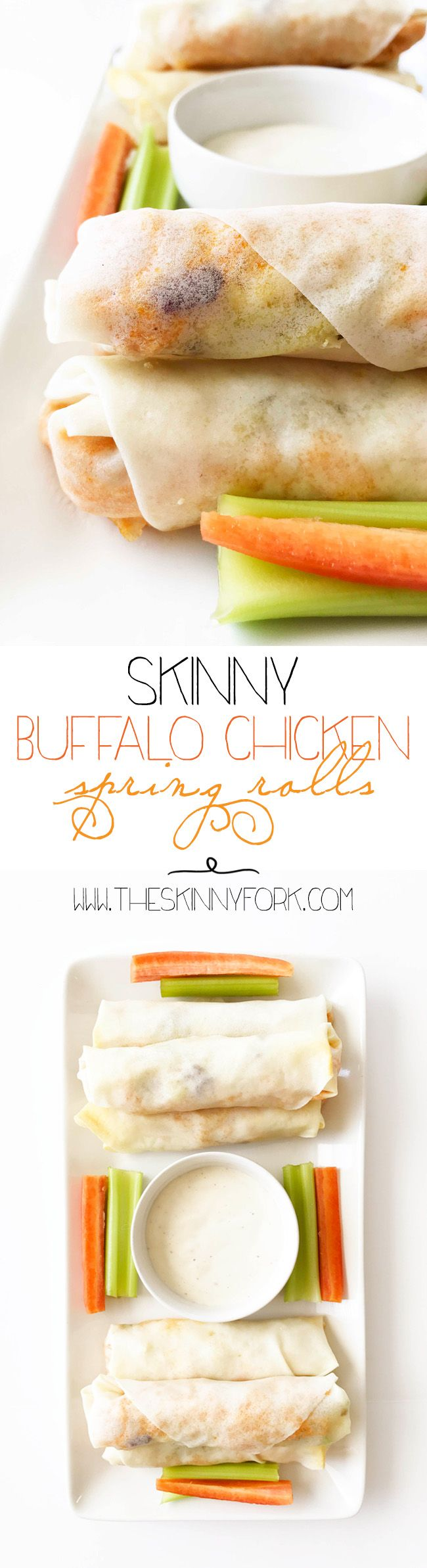These Skinny Buffalo Chicken Spring Rolls are spiced shredded buffalo chicken, slaw, and blue cheese all wrapped up and baked in a spring roll wrapper. Perfect for dipping and dunking in ranch or blue cheese. TheSkinnyFork.com | Skinny & Healthy Recipes