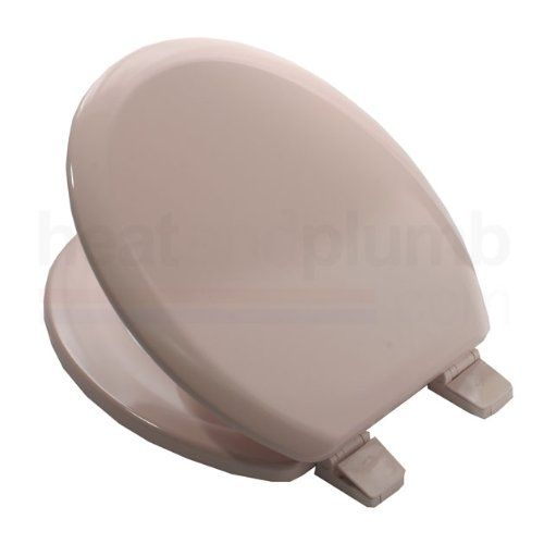 Bemis 5000 SALMON PINK Coloured Moulded Wood Toilet Seat and Cover with Adjustable Plastic Hinges http://colouredtoiletseats.com