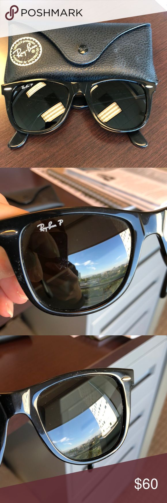 Ray-Ban Wayfarer Sunglasses Black Ray-Ban Wayfarer polarized sunglasses.In okay condition. Have some scratches (tried to show in the photos) Ray-Ban Accessories Sunglasses