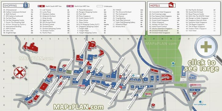 Orchard Road shopping map Singapore top tourist attractions map