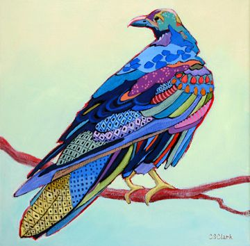 expressionistic painting of a raven by Carolee Clark This style could translate to fabric. Very fun look and feel.