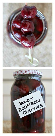 Easy Boozy Bourbon Cherries Recipe - from http://RecipeGirl.com