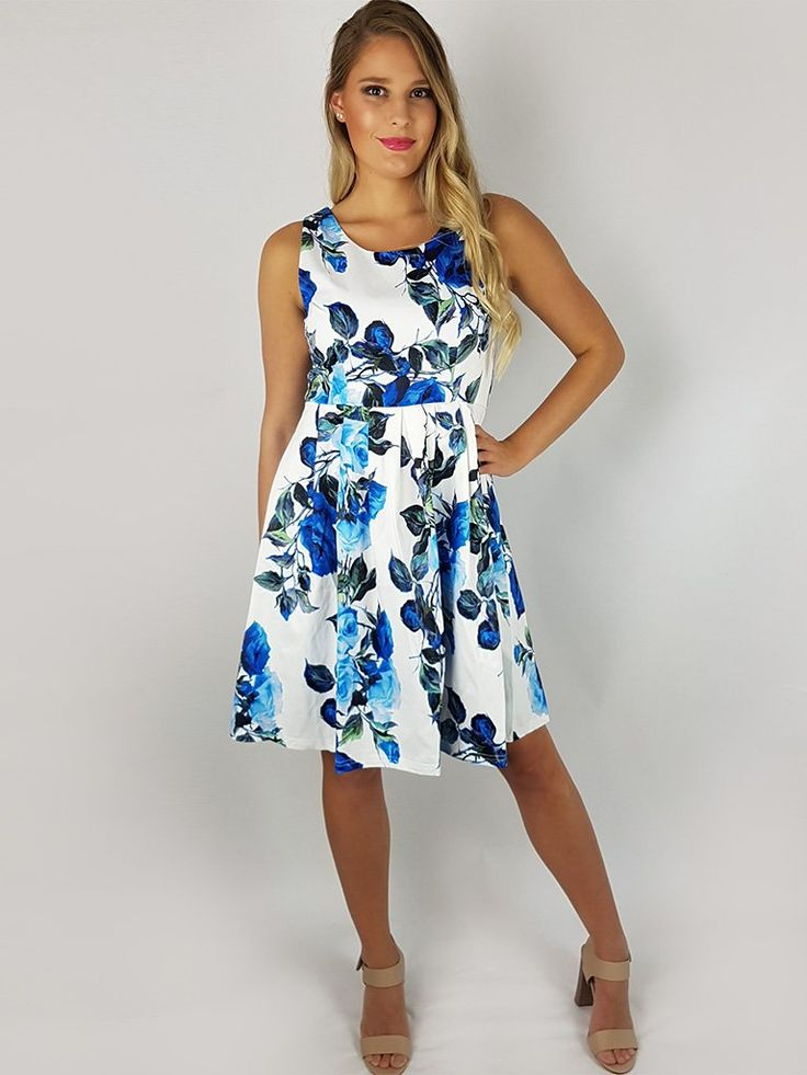 Thoni Blue Rose Stretch Sateen Dress