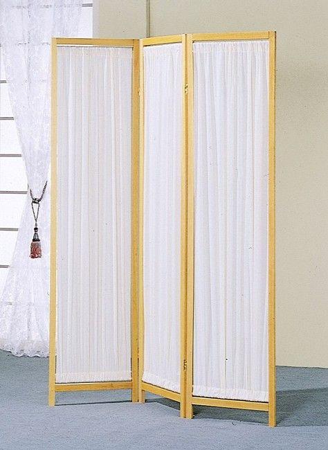 3 Panels Wood Frame & Pleated Fabric Insert Room Screen ...