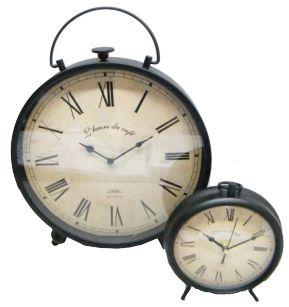UH67013 Black Vintage Clock Sm 19cm