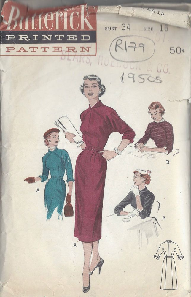 "1950s Vintage Sewing Pattern B34"" DRESS (R179) #Butterick"