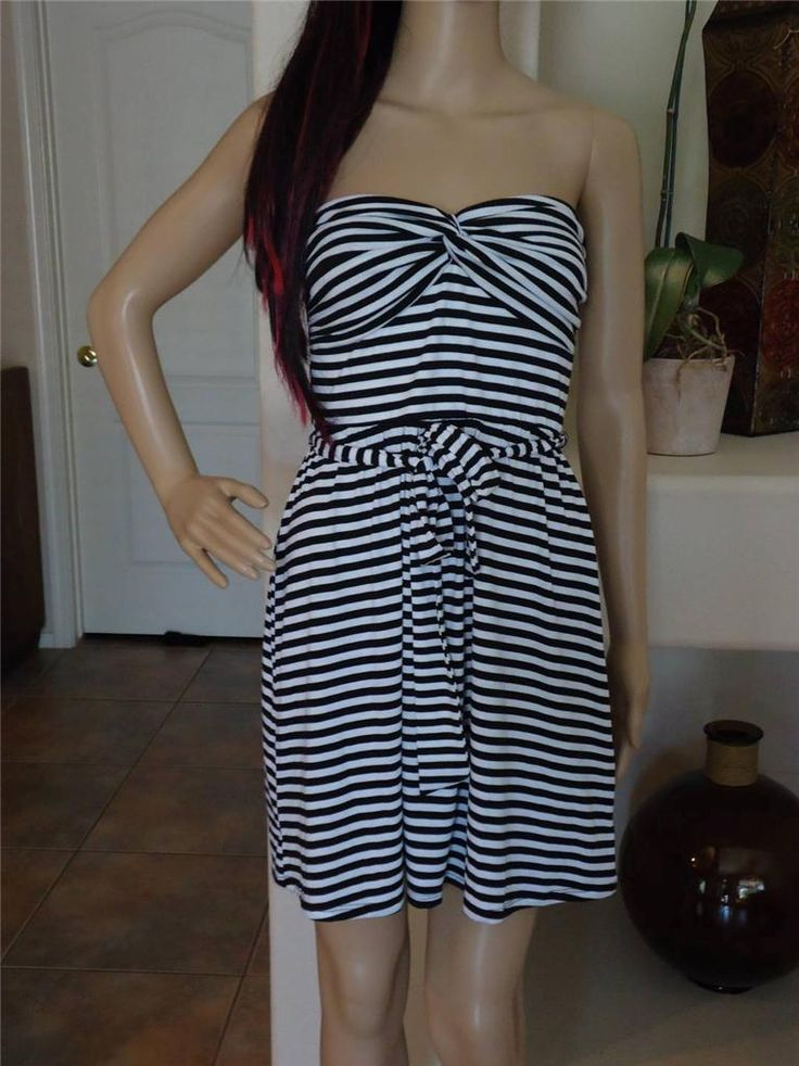 Bebe Dress For Women Black White Stripe Print Strapless Summer Dress S M L Xl