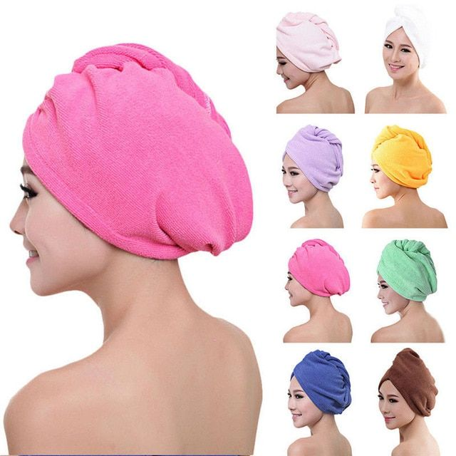 Newest Microfibre After Shower Hair Drying Wrap Womens Girls Lady S Towel Quick Dry Hair Hat Cap Turban Head Wrap Bat Hair Towel Wrap Quick Dry Hair Magic Hair