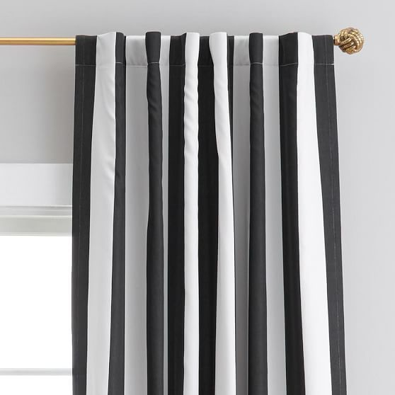 The emily meritt circus stripe blackout drape pb teen Bold black and white striped curtains