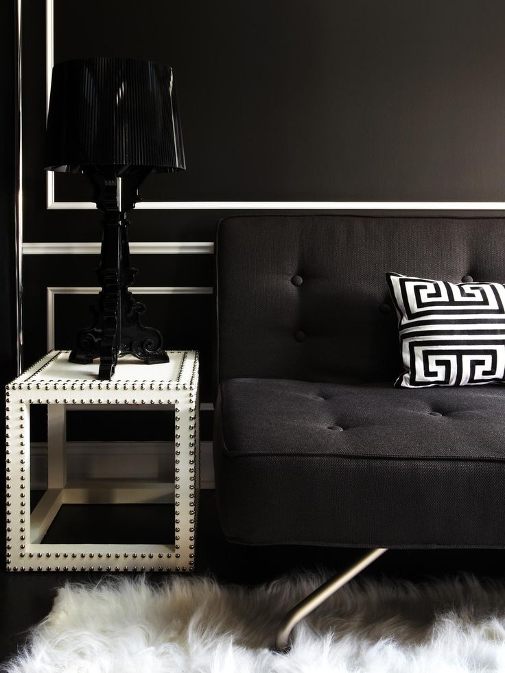 black on black with white elements molding ideasblack sofaeclectic living