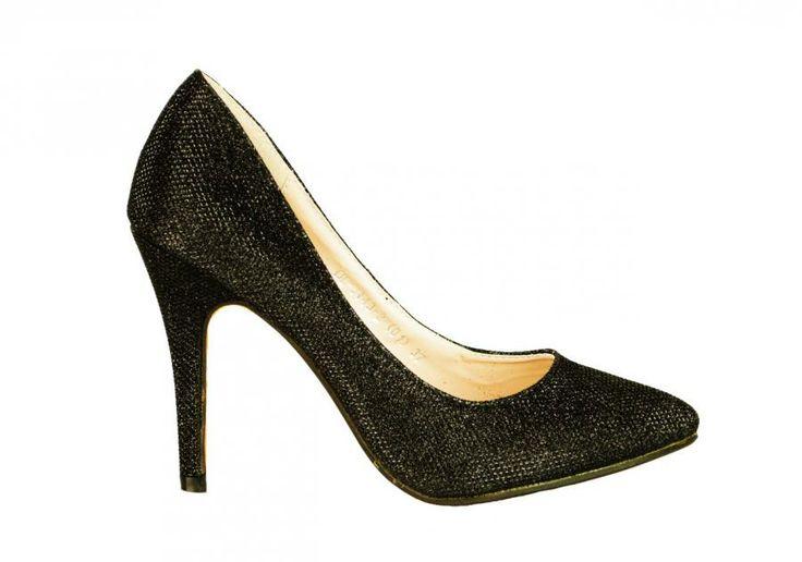 Pantofi Dama Insertion Blades Black  -Pantofi dama eleganti  -Detaliu varf ascutit  -Insertie fina cu lame argintiu  -Toc 10cm