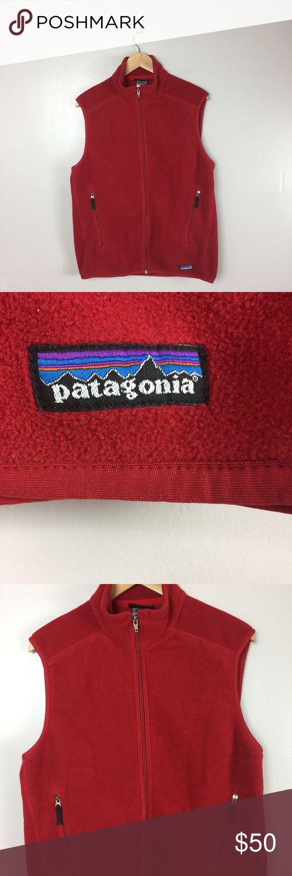 """Patagonia Synchilla Vest Patagonia Synchilla Fleece Full Zip Front Red Vest Jacket Men's Size Medium   pit to pit 22"""" length 25.5""""  excellent condition patagonia Sweaters"""