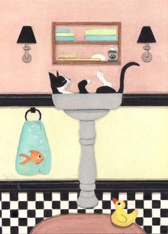 Tuxedo cat (tux cat) fills sink at bathtime / Lynch signed folk art print | For the Home | Pinterest | Cats, Cat art and Art