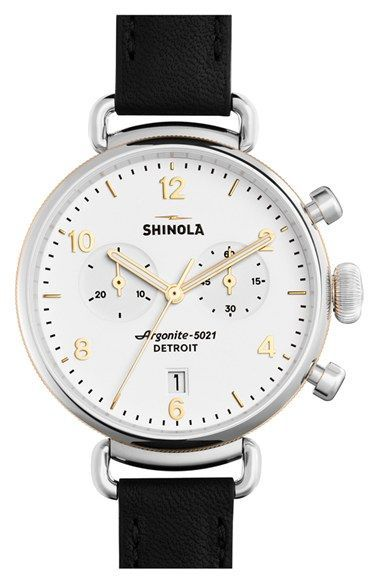 See Nordstrom Rack first -- Free shipping and returns on Shinola 'The Canfield Chrono' Leather Strap Watch, 38mm at Nordstrom.com. This handsome chronograph watch offers a complex, top-loaded case construction that distinguishes its distinctive, vintage-inspired profile. The 85-piece quartz movement powers the time, date and chronograph subdials, while a double-curved sapphire crystal face protects the clean display.
