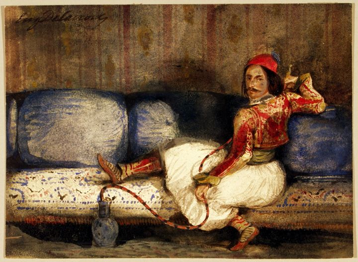 A Greek on a Sofa - Attributed to Eugène Delacroix