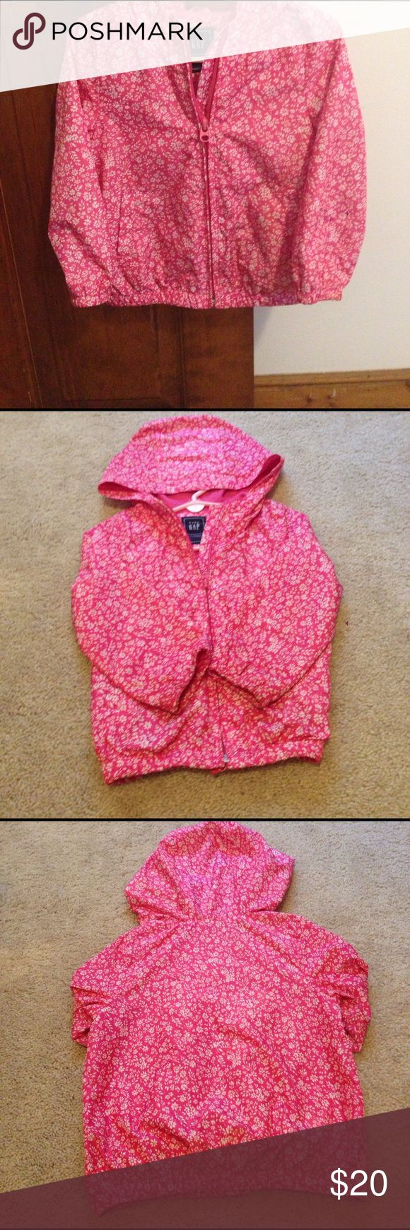 Gap Jacket Baby Gap Size 3 windbreaker. Pink with white flower print. Two side pockets with hood. No holes rips or stains. GAP Jackets & Coats