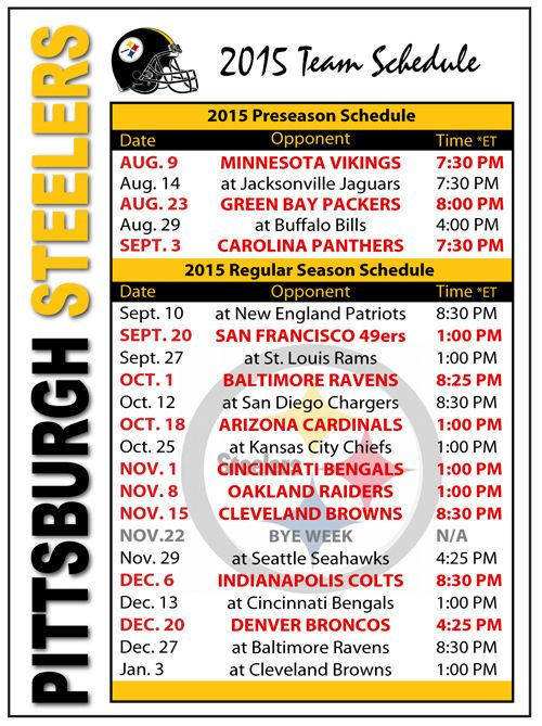 2015 Pittsburgh Steelers Football Schedule Magnet #Magnet