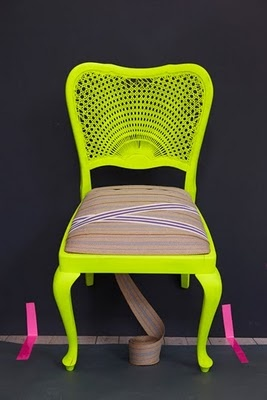 neon chair: Decor, Idea, Neon Colors, Furniture, Old Chairs, Diy, Yellow Chairs, Design