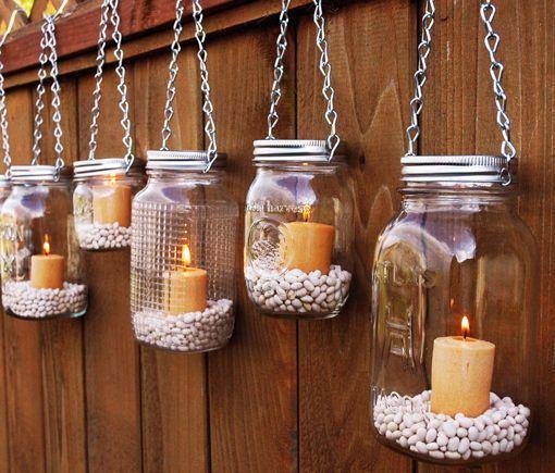 Velas en tarros de cristal para decorar la Navidad