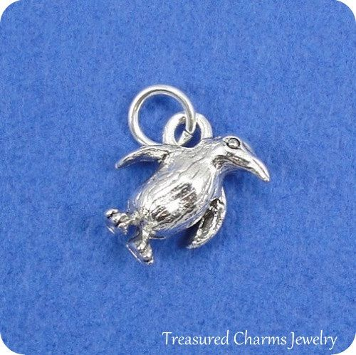 [OSWALD]  Penguin Charm  Silver Plated Penguin Charm for by treasuredcharms