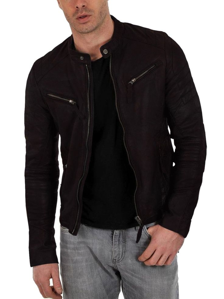 Laverapelle Men's choco-snaff Genuine Lambskin Leather Jacket - 1510025 - Custom Size