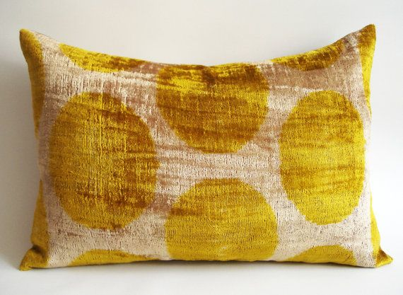 Soft Yellow Decorative Pillows : Sukan / SALE - Soft Hand Woven - Silk Velvet Ikat Pillow Cover - 15x22 inch - Beige Yellow Gold ...