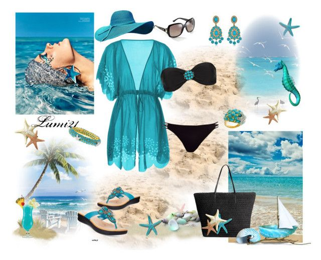 ocean by lumi-21 on Polyvore featuring Blue Man, River Island, Easy Street, H&M, Kenneth Jay Lane, Gucci, Marc and TIKI